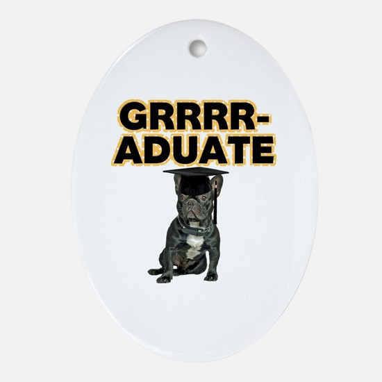 Graduation French Bulldog Ornament (Oval)