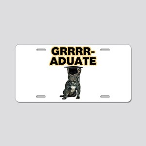Graduation French Bulldog Aluminum License Plate