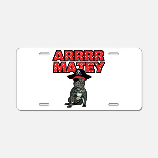 Pirate French Bulldog Aluminum License Plate