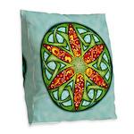 Celtic Summer Mandala Burlap Throw Pillow