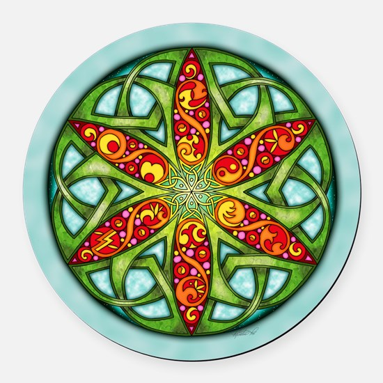 Celtic Summer Mandala Round Car Magnet