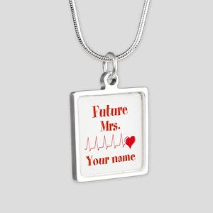 Personalizable Future Mrs. Silver Square Necklace