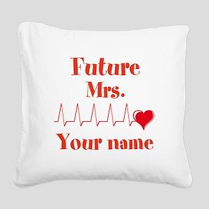 Personalizable Future Mrs. __ Square Canvas Pillow