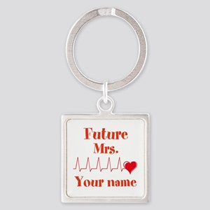 Personalizable Future Mrs. __ Square Keychain