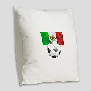 Mexico Futbol Burlap Throw Pillow