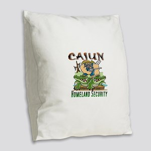 Cajun Homeland Security Burlap Throw Pillow