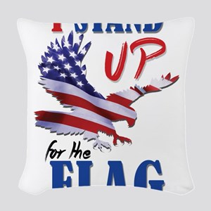Keeling? Stand Up For The Flag Woven Throw Pillow