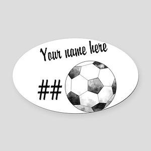 Soccer Art Oval Car Magnet