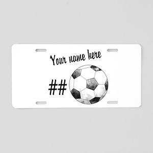 Soccer Art Aluminum License Plate