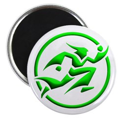'Running Wizard' Magnet (3D, green on white)