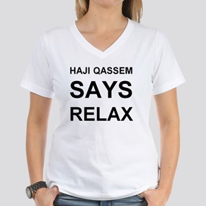 HAJIQASSEM1 Women's V-Neck T-Shirt