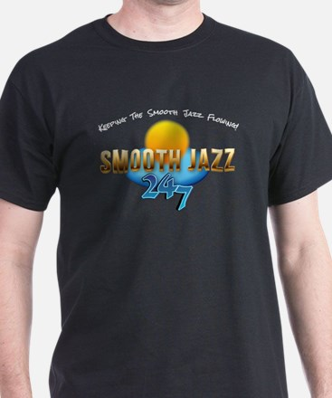 Smooth Jazz 247 White Lettering T-Shirt