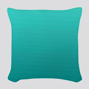 Turquoise to teal gradient Woven Throw Pillow