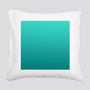 Turquoise to teal gradient Square Canvas Pillow