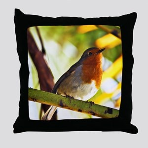 Red Robin bird Throw Pillow