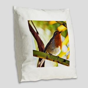 Red Robin bird Burlap Throw Pillow