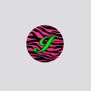 HOT PINK ZEBRA GREEN I Mini Button