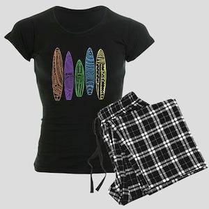 Cool Neon Tiki Surfboards Women's Dark Pajamas