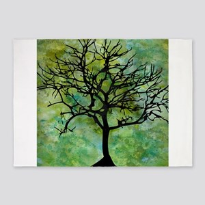 Watercolor Tree 5'x7'Area Rug
