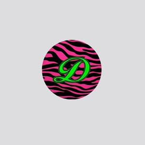 HOT PINK ZEBRA GREEN D Mini Button
