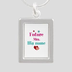 Personalize Future Mrs,_ Silver Portrait Necklace