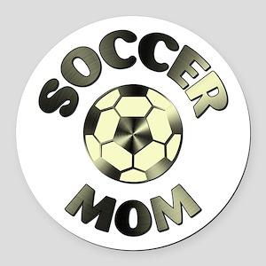 SOCCER MOM Round Car Magnet