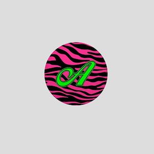 HOT PINK ZEBRA GREEN A Mini Button