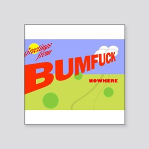 "Greetings/Bumfuck Square Sticker 3"" x 3"""