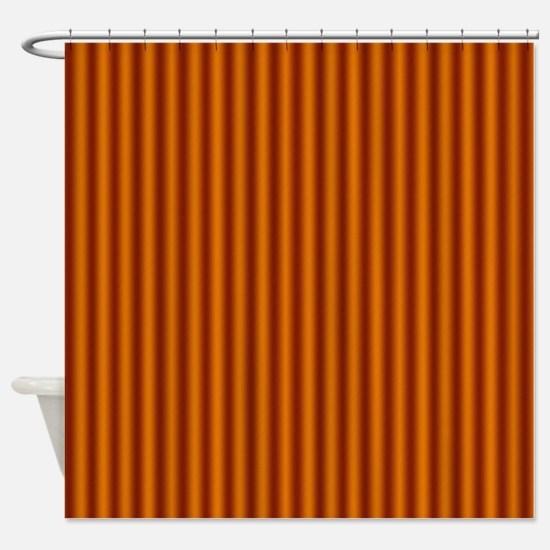 Burnt Orange Stripes Shower Curtain