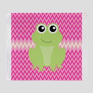 Cute Frog on Pink Throw Blanket