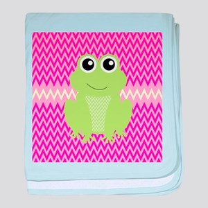 Cute Frog on Pink baby blanket