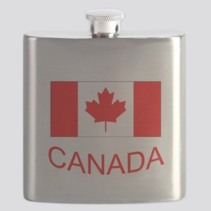 Canada flag and country name. Canada Day. Flask