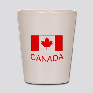 Canada flag and country name. Canada Day. Shot Gla