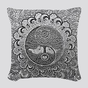 Shiny Metallic Tree of Life Yin Yang Woven Throw P