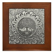 Shiny Metallic Tree of Life Yin Yang Framed Tile