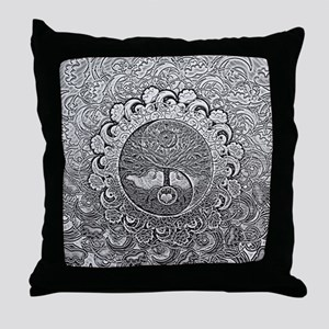 Shiny Metallic Tree of Life Yin Yang Throw Pillow