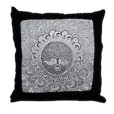 Shiny Metallic Tree of Life Yin Yang Throw Pillow