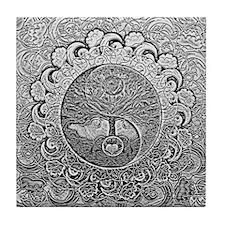 Shiny Metallic Tree of Life Yin Yang Tile Coaster