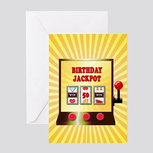 50th birthday, slot machine Greeting Cards