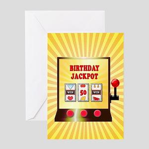 50th birthday, slot machine Greeting Cards