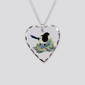 Watercolor Curious Magpie Necklace Heart Charm