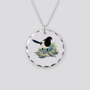 Watercolor Curious Magpie Necklace Circle Charm