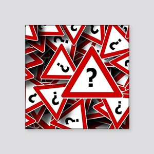 "Road Sign: Question Mark (? Square Sticker 3"" x 3"""