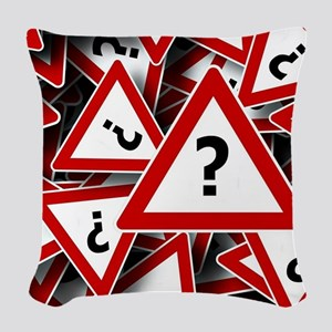 Road Sign: Question Mark (?) Woven Throw Pillow