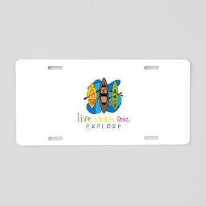 Live Laugh Love Explore Aluminum License Plate