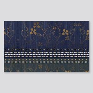 Denim Bronze Floral Sticker (Rectangle)