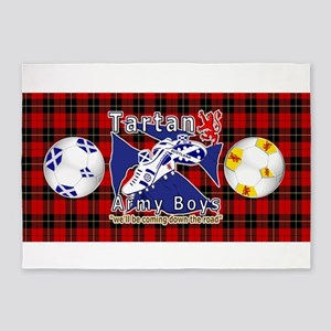 Scottish Red Tartan Army_b 5'x7'area Rug