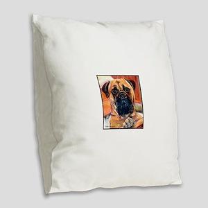 Red Bullmastiff on Fence Burlap Throw Pillow