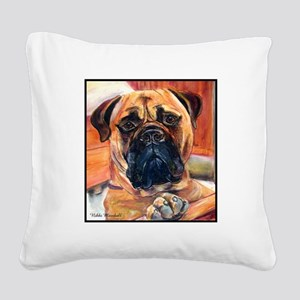 Red Bullmastiff on Fence Square Canvas Pillow