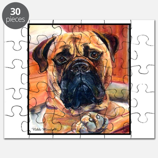 Red Bullmastiff on Fence Puzzle